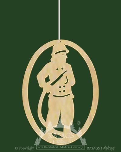 Fensterbild, Feuerwehrmann, oval