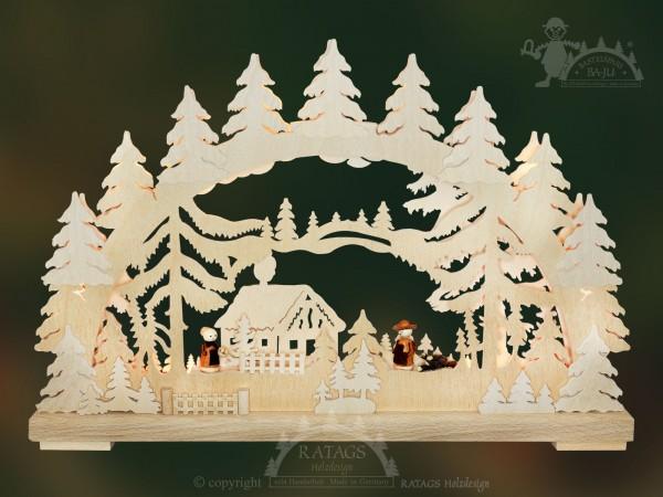Schwibbogen Waldhaeuschen, Weihnachten, echt Erzgebirge