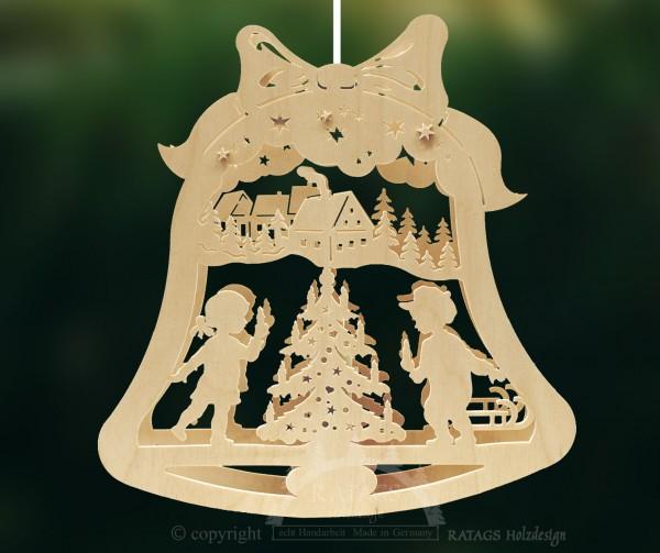 Fensterbild, beleuchtet, Glocke, Weihnacht