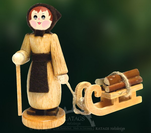 Figur, Holzsammlerin, Schlitten, Stock