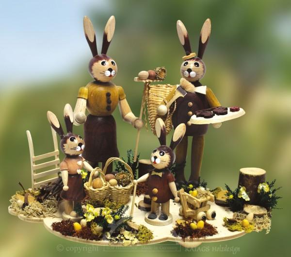 Tischschmuck Hasenfamilie, Ostern, echt Erzgebirge