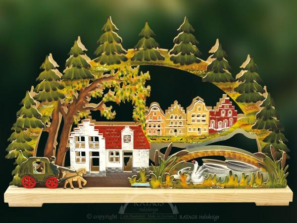 Schwibbogen Hansestadt, Deko, Weihnachten, echt Erzgebirge