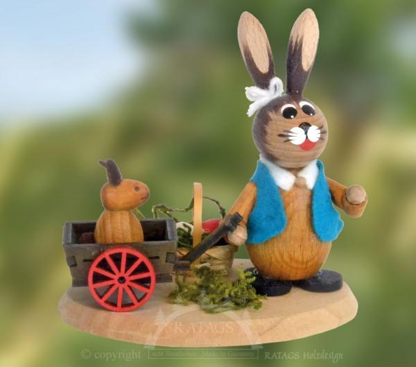 Hase mit Handwagen und Kind, Ostern, echt Erzgebirge