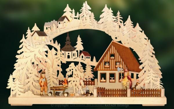 Schwibbogen Am Abend, Deko, Weihnachten, echt Erzgebirge