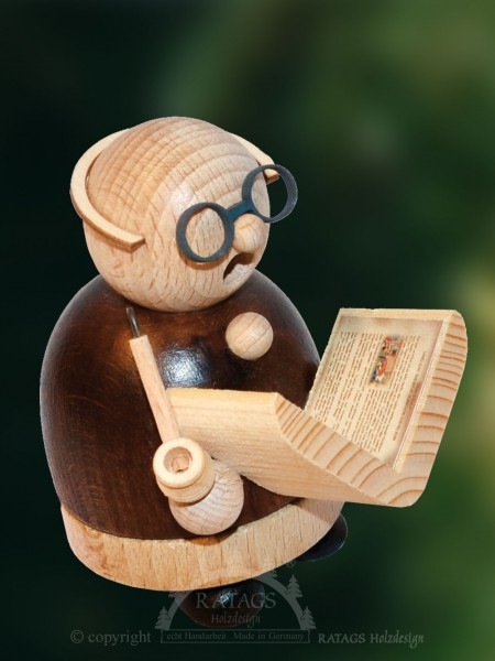 Raeuchermann Opa beim Lesen, Deko, echt Erzgebirge