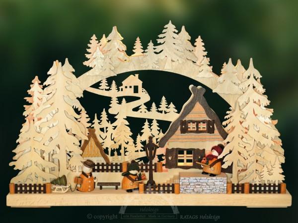 Schwibbogen Markthaendler, Weihnachten, echt Erzgebirge
