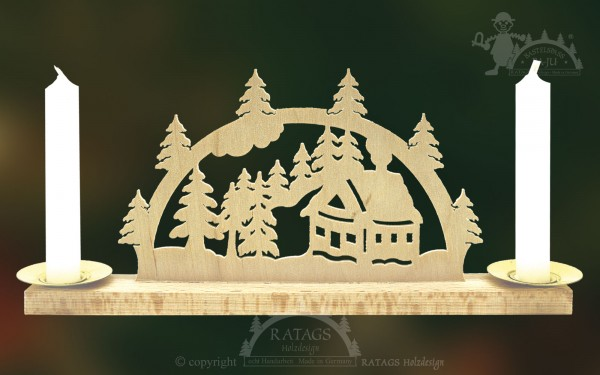 Mini Schwibbogen Schneehuette Weihnachten, echt Erzgebirge