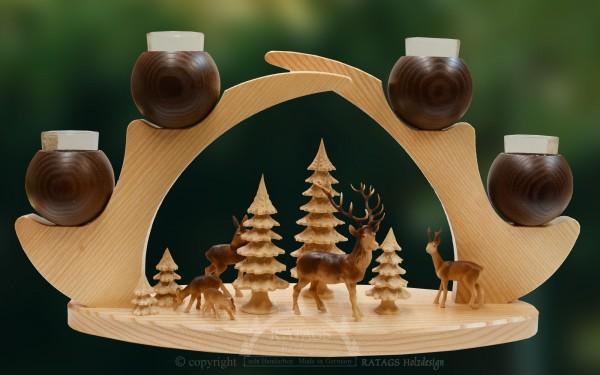 Massivholzleuchter, braun, Rehe im Wald, Advent