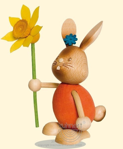 Stupsi Hase mit Blume, Kuhnert, Ostern, echt Erzgebirge