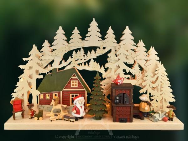 Schwibbogen, Weihnachtsstübchen, Kamin, Schaukelpferd