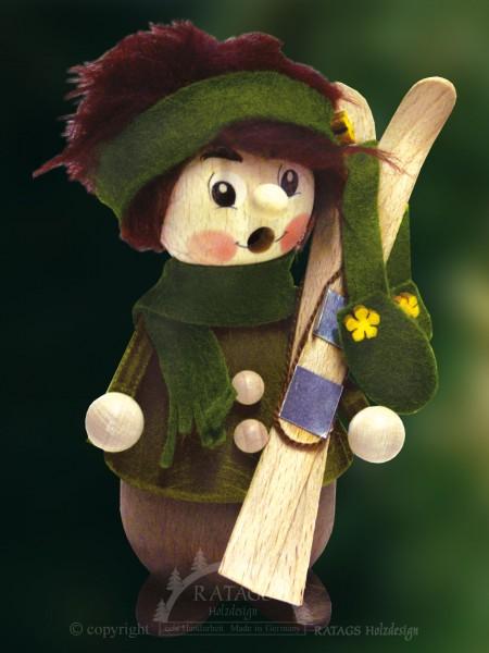 Raeuchermann Skifahrerin, Weihnachten, echt Erzgebirge