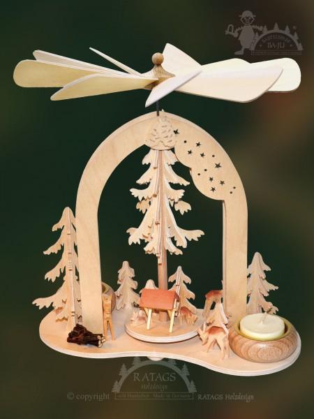 Bogenpyramide Rehe, Deko, Weihnachten, echt Erzgebirge