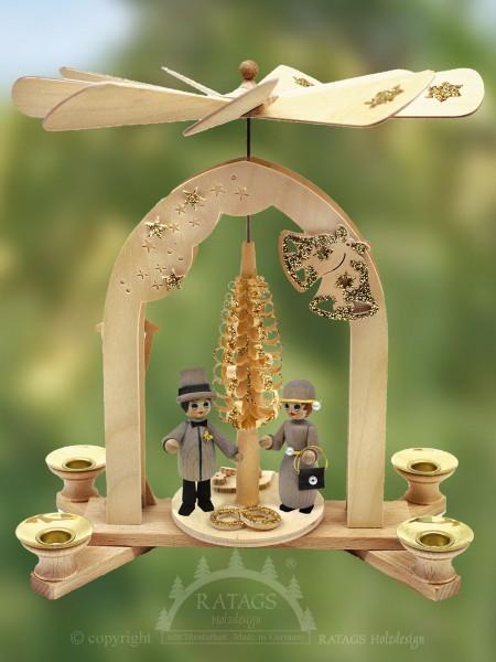 Pyramide Goldene Hochzeit, Kerzen, Deko, echt Erzgebirge