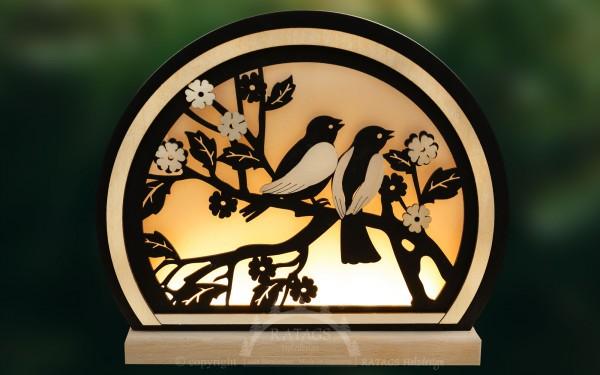 Romantikleuchte, Singende Vögel, schwarz, LED, rund