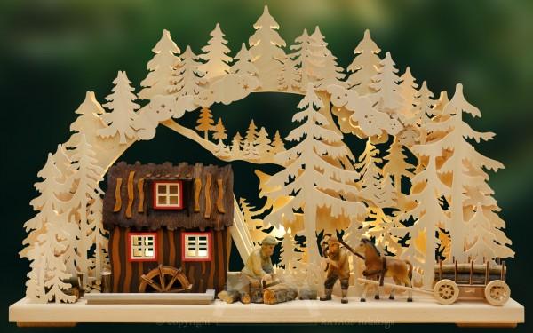 Schwibbogen Saegemuehle, Weihnachten, echt Erzgebirge