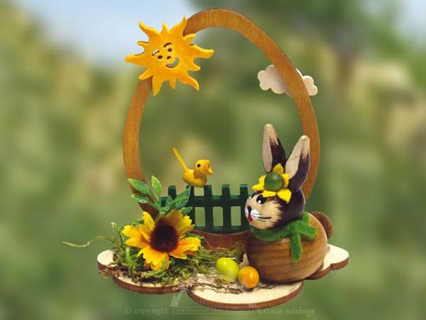 H=E4schen am Gartenzaun mit Vogel, Ostern, echt Erzgebirge