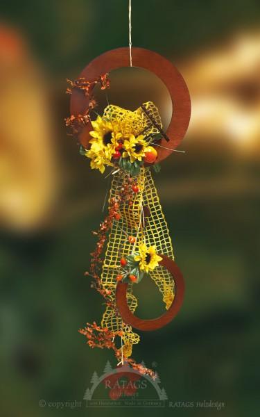 Fensterdeko, Sonnenblume, braun, Runde Ornamente, Floristik
