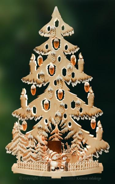Tanne gr., Zapfen, Schneebällchen, weiß handbemalt braun, Raureif