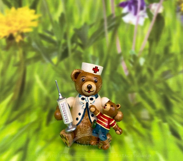 Teddy Hubiduu, Erste Hilfe, handbemalt, echt Erzgebirge