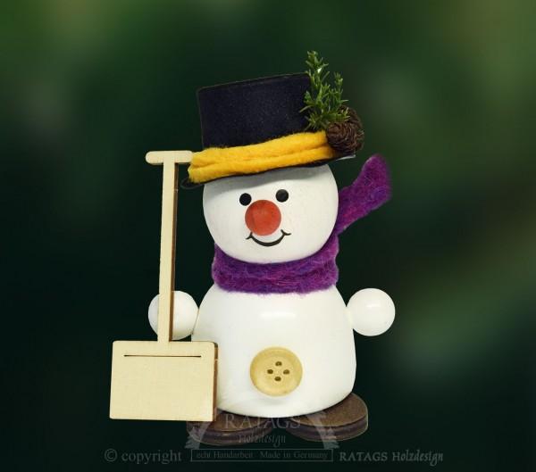 Moppel-Schneemann mit Schneeschieber, Winter, Frost