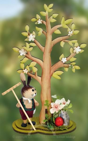Hase mit Rechen Osterbaum Ei und Igel, echt Erzgebirge