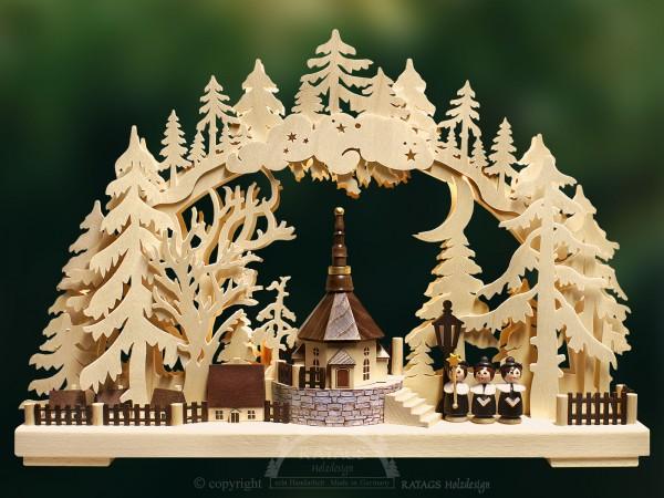 Schwibbogen Dorfkirche, Deko, Weihnachten, echt Erzgebirge