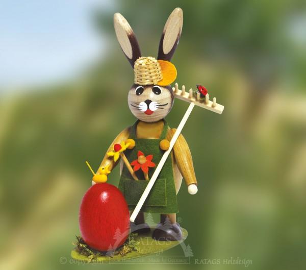 Hase als G=E4rtner mit K=FCken und Ei, Ostern, echt Erzgebirge
