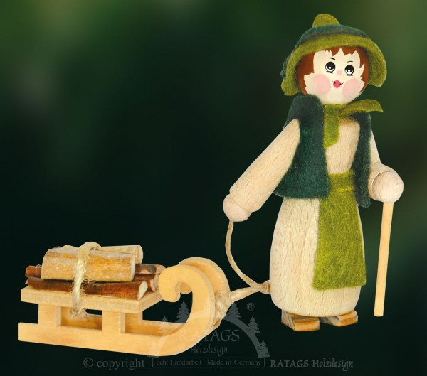 Figur, Holzsammlerin mit Schlitten, Stock, Hut