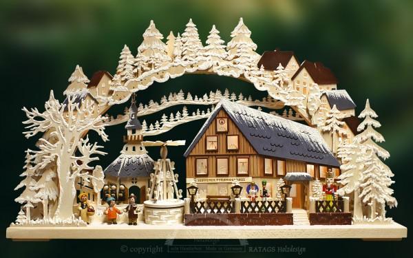 3D Schwibbogen Pyramidenhaus, Raureif, Erzgebirge
