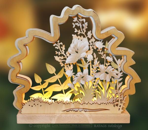 Romantikleuchte Blumenwiese, Deko, echt Erzgebirge