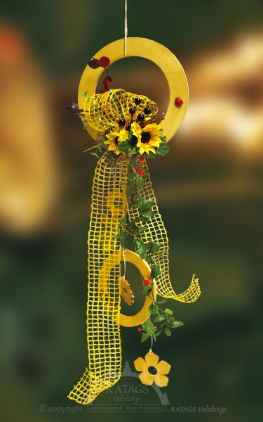 Fensterdeko, Sonnenblume, gelb, Runde Ornamente, Floristik