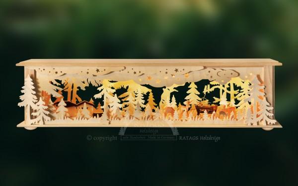 Raumleuchte Wald mit Rehen, Weihnachten, echt Erzgebirge