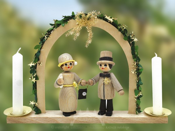 Tischschmuck Goldene Hochzeit, Deko, echt Erzgebirge