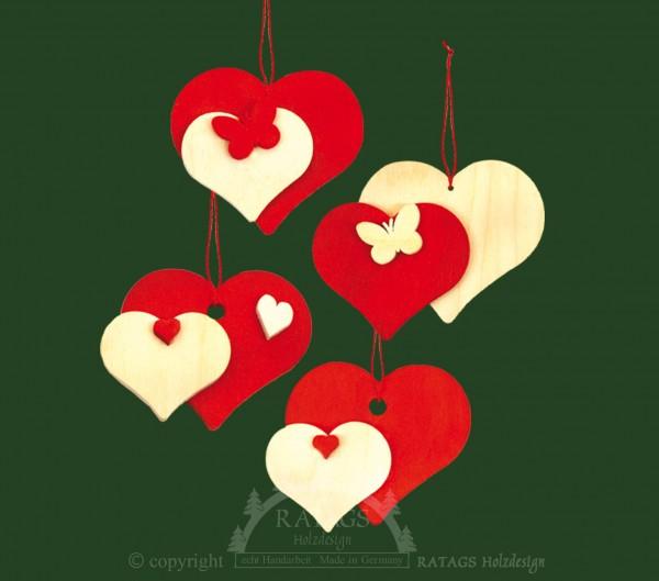 Baumbehang, Deko, Herz, echt Erzgebirge, natur, rot, 3D