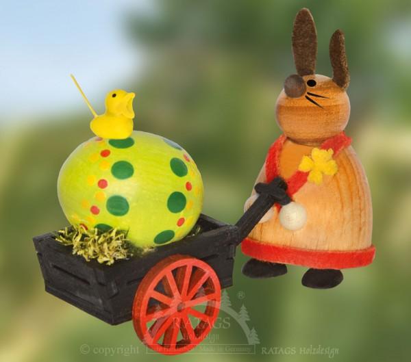 H=E4schen mit Handwagen + Ei, Ostern, echt Erzgebirge