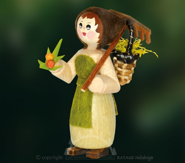 Figur, G=E4rtnerin mit Korb und Beeren, Wald