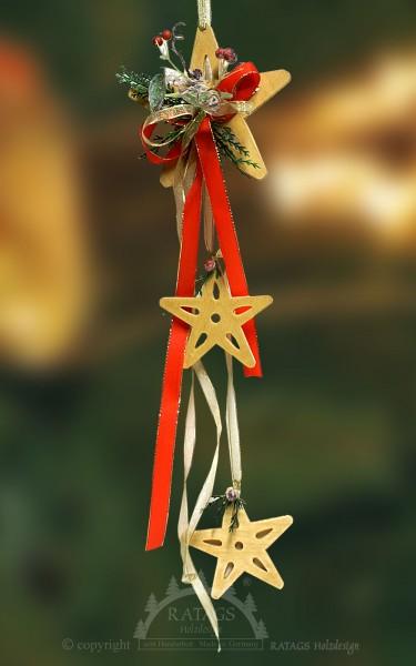 Fensterdeko, Stern, Bänder, Floristik, rot, gelb