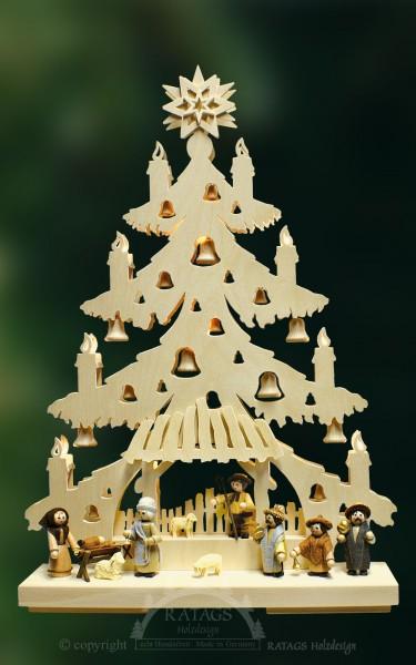 beleuchtete Tanne Krippenspiel, Weihnachten, echt Erzgebirge