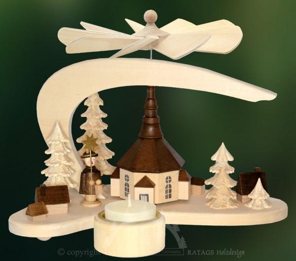 Massivholz Minipyramide Seiffen Weihnachten, echt Erzgebirge