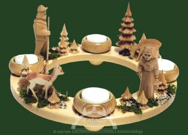 Ringleuchter, Waldleben, Teelichthalter, geschnitzte Figuren