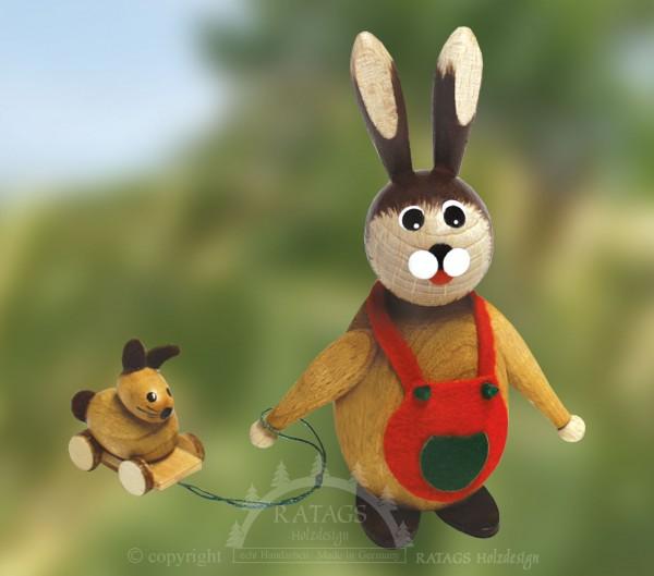 Knuffelhase mit Spielzeug, Ostern, echt Erzgebirge