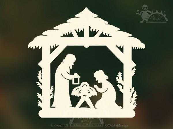 Fensterbild Christi Geburt Deko Weihnachten, echt Erzgebirge