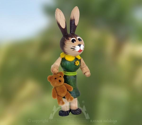 Hasenm=E4dchen mit Teddy, Ostern, echt Erzgebirge