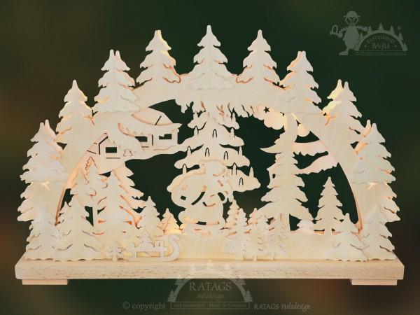 Schwibbogen Bescherung, Weihnachten, echt Erzgebirge