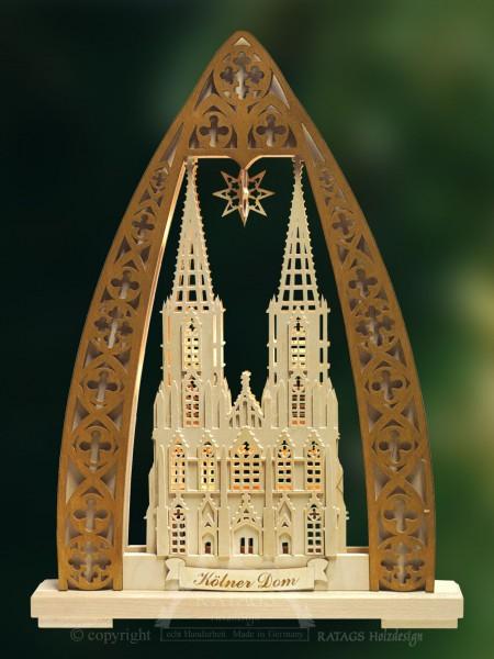 Schwibbogen Koelner Dom, Weihnachten, echt Erzgebirge