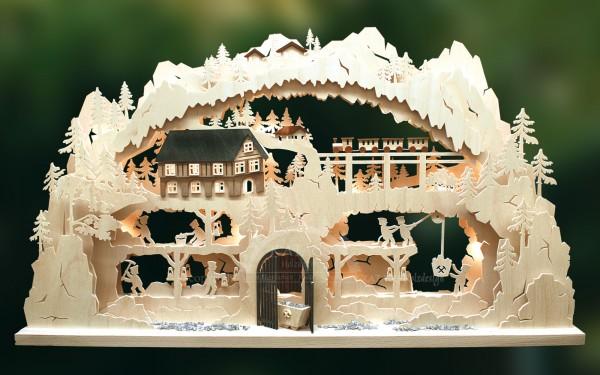 Schwibbogen Bergbau natur, Weihnachten, echt Erzgebirge