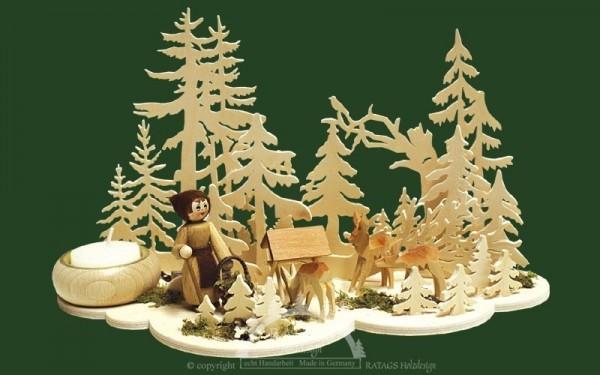 Tischschmuck, Waldfrau und Rehe
