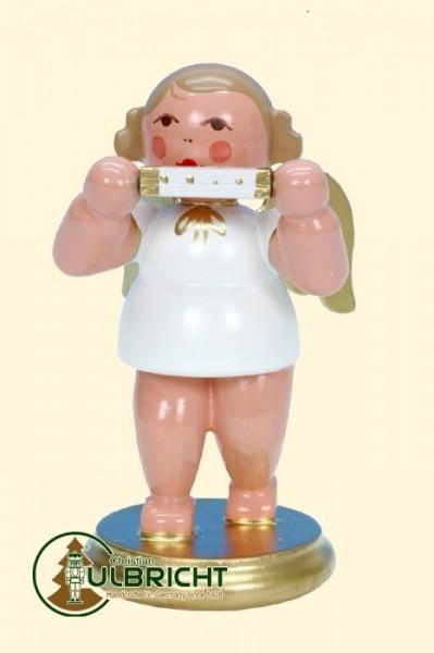 Engel mit Mundharmonika, weiß/gold