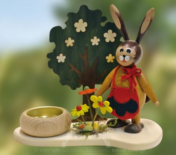Tischschmuck Hasenfrau am Blumenbeet, Ostern,echt Erzgebirge