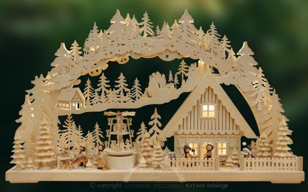 Schwibbogen Winteridylle, Deko, Weihnachten, echt Erzgebirge
